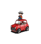 動くミニサイズで可愛い車(個別スタンプ:09)