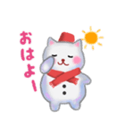 雪だるまネコさん 2(個別スタンプ:01)