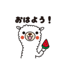 動く!白いアルパカさんの暑い夏(個別スタンプ:02)
