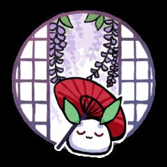 まる雪うさぎ 和風な丸窓編