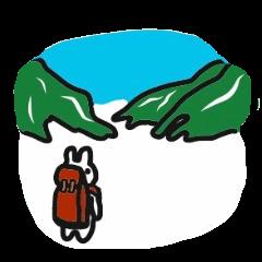 山にのぼるうさぎ