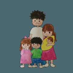 水彩画 ほんわか5人家族の主婦