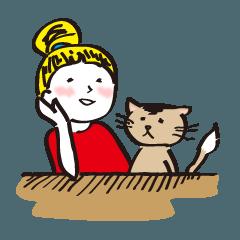 キンパツちゃんとネコちゃんの日常