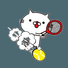 鼻が赤いとても白い猫とテニス