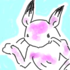 ウサギさんとカエルさん(鳥獣戯画風)