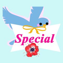青い鳥と花