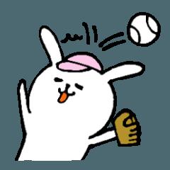 野球大好き白うさぎ