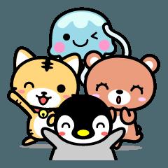 4種のかわいい動物スタンプ