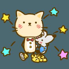 かわいい絵柄のネコとネズミ【文字なし編】