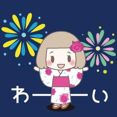 動く!ゆるふわガーリースタンプ【真夏】