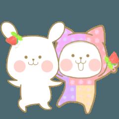 [LINEスタンプ] いちごとオレンジ♡うさぎとネコ ver.2