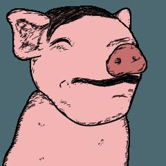 動くイケメンの豚