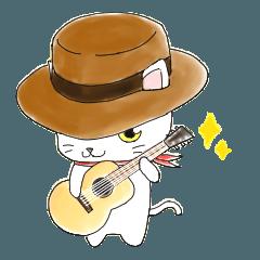 [LINEスタンプ] 歌うたいの白猫 1 (1)