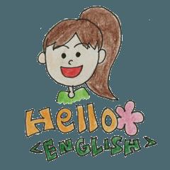 女の子と男の子の英語emotionスタンプ