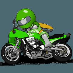 動くライムグリーンのライダー