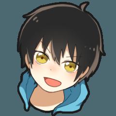 [LINEスタンプ] 黒髪少年 (1)